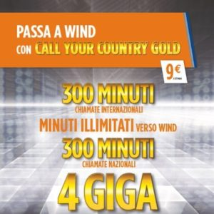 Telefonia mobile wind call your country gold 300 min for Bollette ogni 4 settimane
