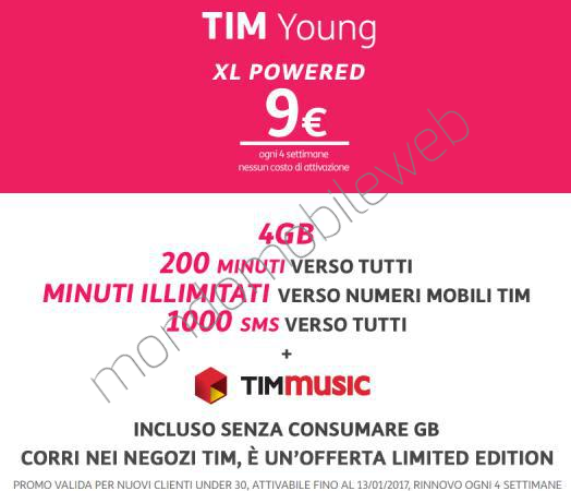 Photo of Sei Under30? Tim Young XL Powered 4GB: 200 minuti, 1000 sms, 4 Giga in 4G a 9 euro ogni 4 settimane. In più 10.000 minuti verso Tim e TIMmusic incluso