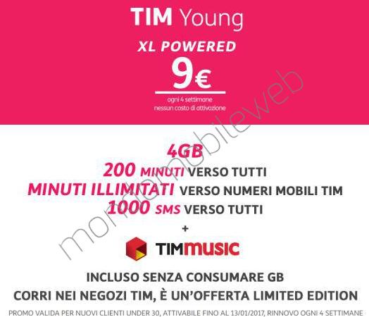 Photo of Sei Under30? Tim Young XL Powered 4GB: 200 minuti, 1000 sms, 4 Giga in 4G a 9 euro ogni 4 settimane. In più 10.000 minuti verso Tim e TIMmusic incluso