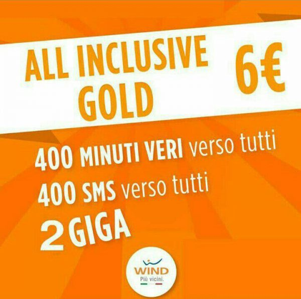 Photo of Wind All Inclusive Gold (400 minuti, 400 sms, 2 GB) a 6 euro per chi proviene da Tim