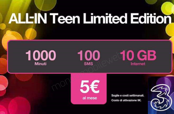 Photo of 3Italia: nuova versione ALL-IN Teen Limited Edition (1000 minuti, 100 sms, 10 Giga) a 5 euro