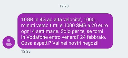 Vodafone special 10gb winback a 20 euro ogni 4 settimane - Bolletta telefonica ogni 4 settimane ...