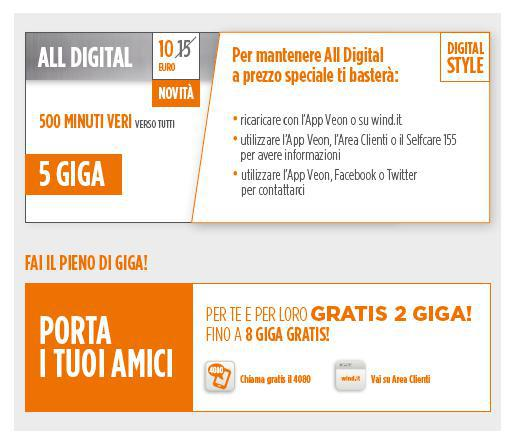Wind all digital 500 minuti e 5 giga in 4g a partire da - Porta i tuoi amici wind problema ...