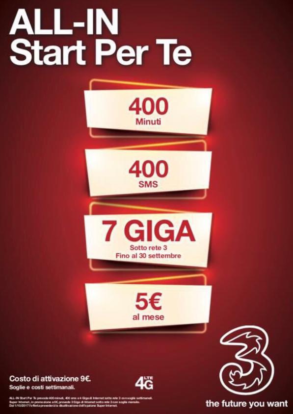 Photo of 3Italia: l'offerta All-In Start Per Te prorogata fino al 6 Aprile 2017. In più l'opzione Super Internet 3GB a 0 euro fino al 30 Settembre 2017