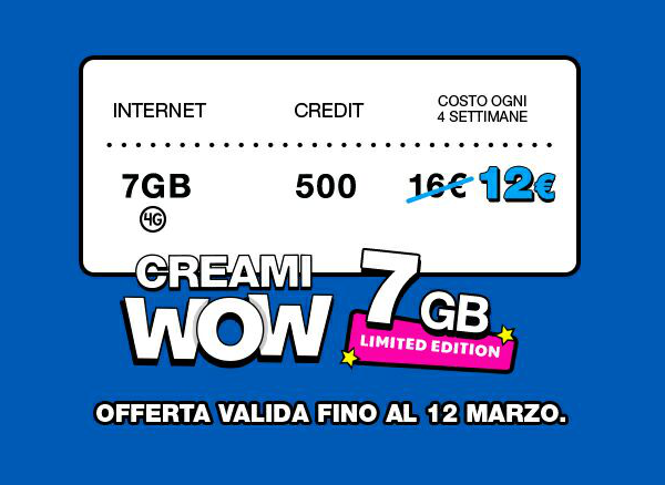 Poste mobile creami wow 7gb limited edition a 12 euro - Bolletta telefonica ogni 4 settimane ...