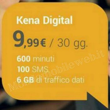 Photo of Kena Digital: 600 minuti, 100 sms, 6 Giga in 3G a 9,99 euro al mese