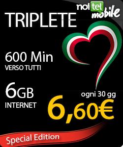 Photo of NoiTel Mobile: nuova promozione Triplete 600 minuti e 6GB a 6,60 euro al mese