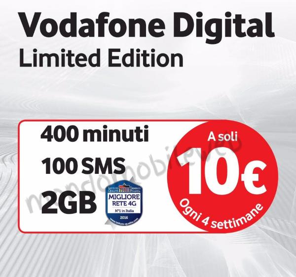 Photo of Vodafone Digital Limited Edition: 400 minuti, 100 sms, 2 Giga in 4G per tutti i clienti