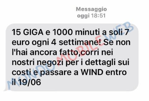 Photo of Wind: promo sms winback Smart 7 Star (1000 minuti e 15GB) fino al 19 Giugno 2017