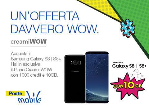 Photo of PosteMobile: Creami Wow 10GB a 9 euro ogni 4 settimane se si acquista a rate il nuovo Samsung Galaxy S8