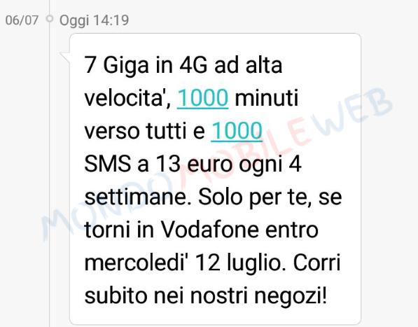 Vodafone Sms Winback Special 7gb A 15 Euro Fino Al 12