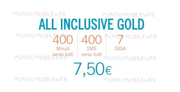 Photo of Wind All Inclusive Gold: 400 minuti, 400 sms, 7 Giga in 4G a 7,50 euro ogni 4 settimane senza costo di attivazione