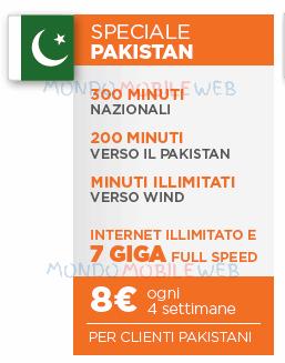 Wind: Call Your Country Speciale Pakistan con Minuti e 7GB in 4G a 8