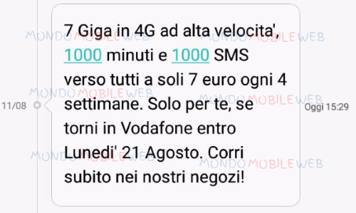 Offerte sms winback vodafone special 7gb a partire da 7 - Bolletta telefonica ogni 4 settimane ...