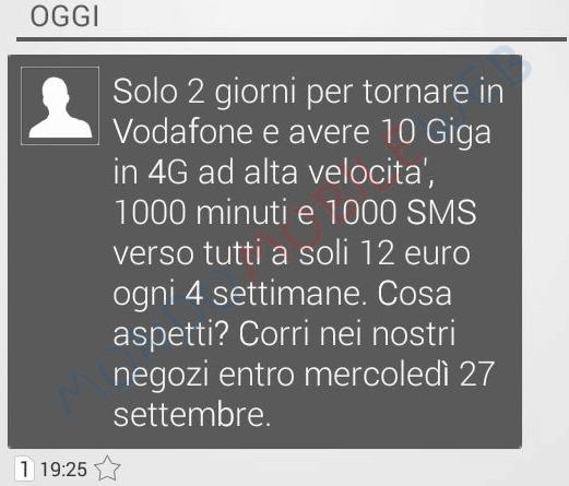 Vodafone special 10gb winback a 12 euro ogni 4 settimane - Bolletta telefonica ogni 4 settimane ...