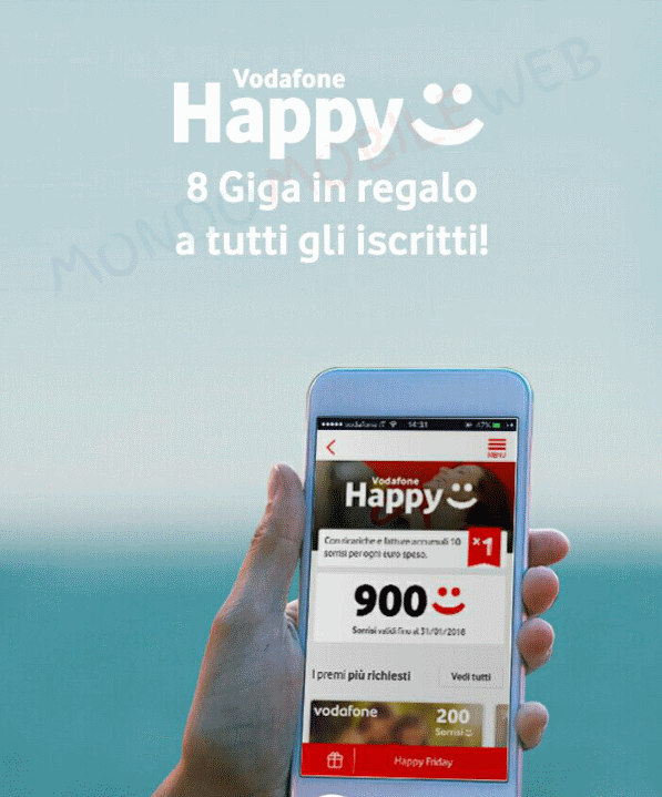 Vodafone happy friday regala 8 giga gratis da utilizzare for Tutto in regalo gratis