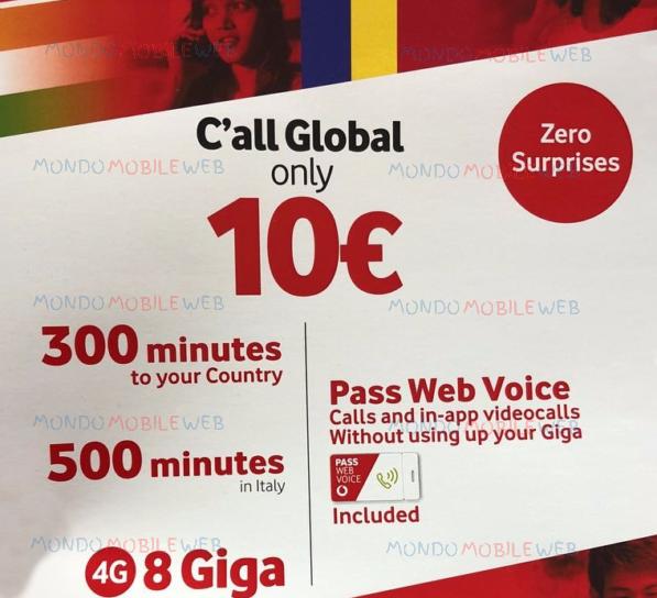 Photo of Vodafone proroga C'all Global a 10 euro fino al 25 Marzo 2018. In più Vodafone Pass Web Voice per chiamare tramite Voip senza consumare i Giga