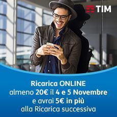 Photo of TIM: 4 e 5 Novembre 2017 ricarica online almeno 20 euro per ricevere 5 euro omaggio