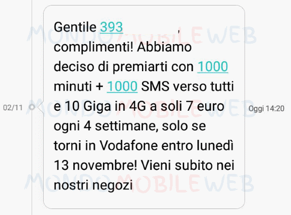 Vodafone: Special 1000 20GB disponibile ora a 10 euro!