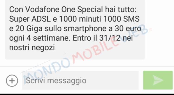 Photo of Vodafone propone l'offerta mobile-fisso Vodafone One Special con 1000 minuti, 1000 sms, 20 Giga in 4G ad alcuni suoi clienti