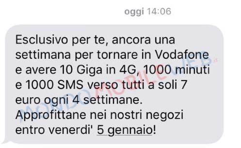 Sms winback vodafone special 10gb a 7 euro ogni 4 - Bolletta telefonica ogni 4 settimane ...