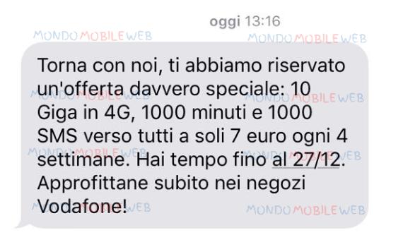 """Photo of Torna in Vodafone: sms winback """"Special 10GB 7 euro"""" fino al 27 Dicembre 2017"""