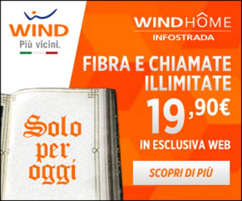Photo of Wind Home Unlimited: oggi 13 Dicembre 2017 promo a partire da 19,90 euro ogni 4 settimane a tempo indeterminato con Fibra illimitata, 50 Giga di traffico dati e chiamate illimitate
