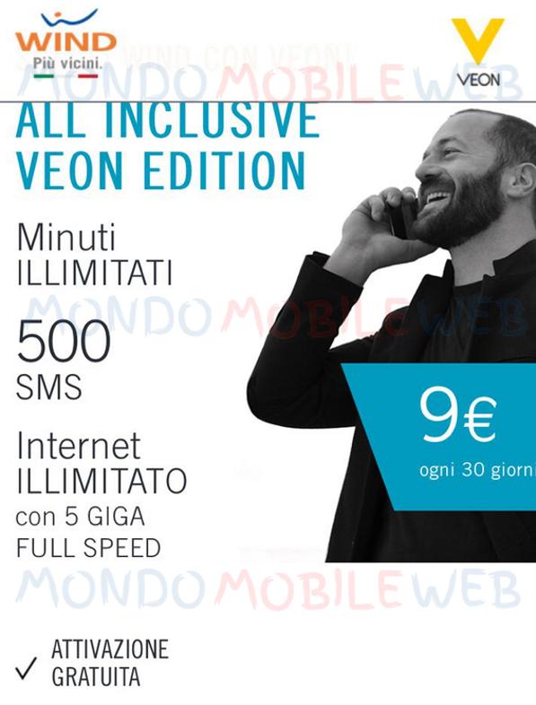 Photo of Wind: come attivare All Inclusive Veon a 9 euro al mese per tutti i nuovi clienti. Offerta prorogata fino al 18 Febbraio 2018