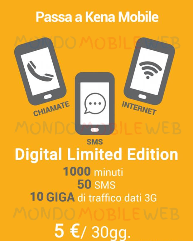 Photo of Telefonia Mobile: KenaMobile rilancia Digital Limited Edition con 1000 minuti, 50 sms, 10 GB in 3G a 5 euro al mese