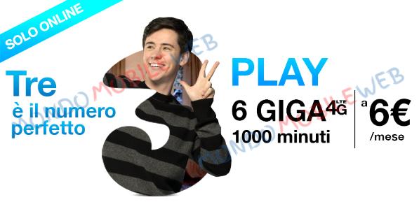 Photo of Tre Play Digital 6: 1000 minuti e 6 Giga a 6 euro al mese senza costi di attivazione. Opzione 4G gratis fino al 30 Giugno 2018
