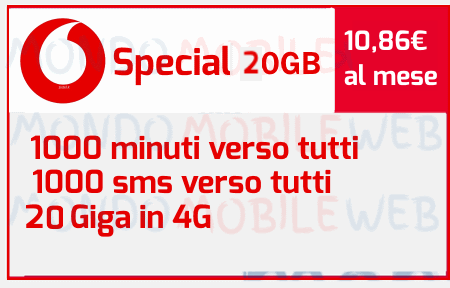 Photo of Come attivare Vodafone Special 20GB con 1000 minuti, 1000 sms, 20 Giga in 4G a 10,86 euro al mese