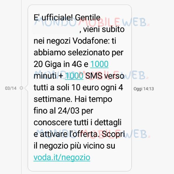Photo of Vodafone ripropone ad alcuni ex clienti Vodafone Special 20GB a 10,86 euro al mese da attivare entro il 24 Marzo 2018
