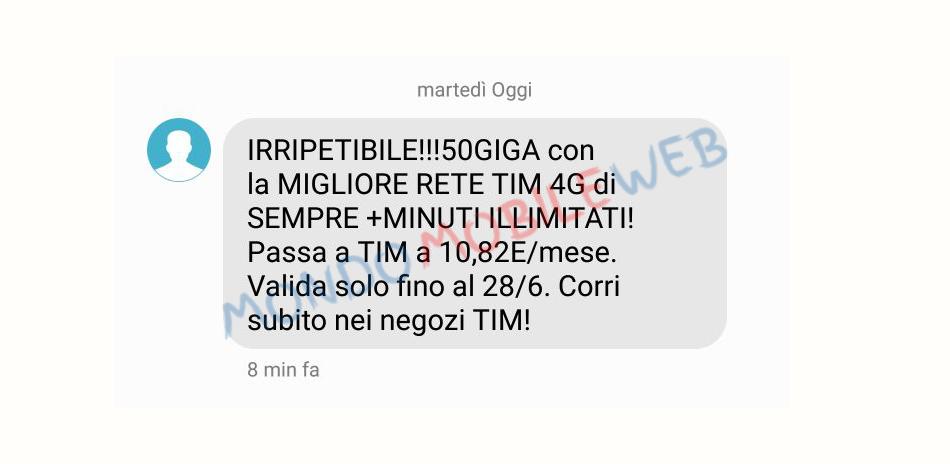 Photo of Tim contro Vodafone: sms winback 50 Giga in 4G e Minuti Illimitati a 10,82 euro al mese
