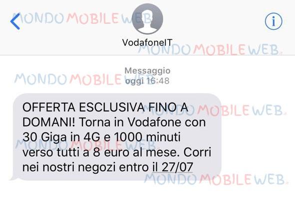 Sms Vodafone 30 Giga e 1000 minuti