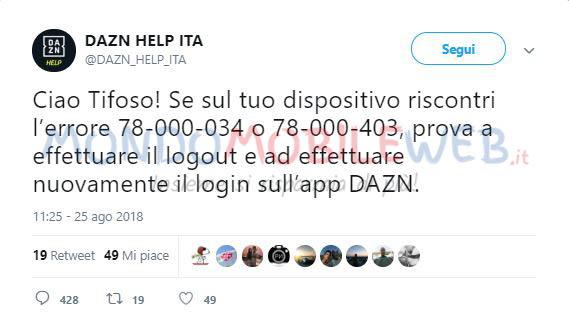 Dazn: ancora qualche problema durante la partita Napoli
