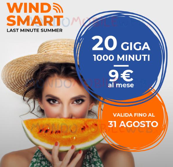 Photo of Wind Smart Last Minute Summer: 20 Giga e 1000 minuti a 9 euro al mese per tutti i nuovi clienti