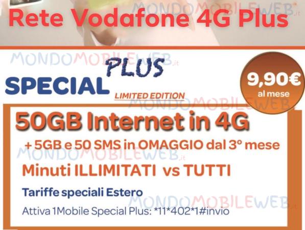Nuova 1mobile special plus 50gb su rete vodafone 4g con for Offerte mobile