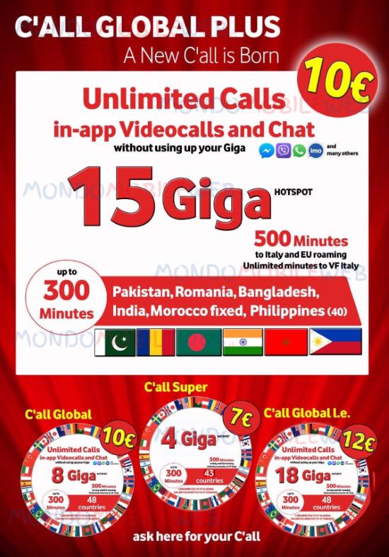 Vodafone: nuova offerta etnica C'All Global Plus Limited