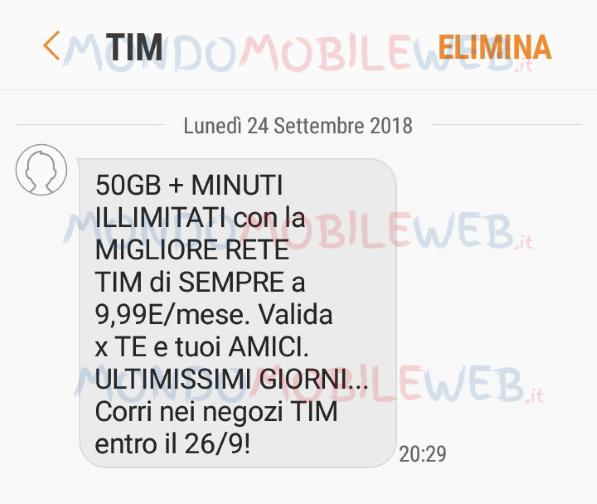 Photo of Tim Titanium 50GB e Minuti Illimitati a 9,99 euro al mese. Sms winback con scadenza 26 Settembre 2018