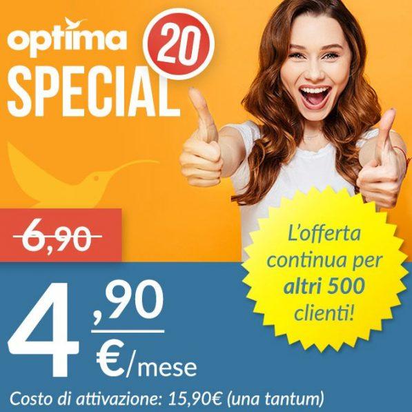 Photo of Optima 20 Special: 1000 minuti, 100 SMS e 20 Giga in 4G su rete Vodafone a 4,90 euro al mese