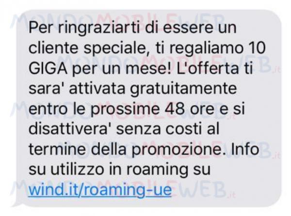 Wind regalo 10 Giga SMS
