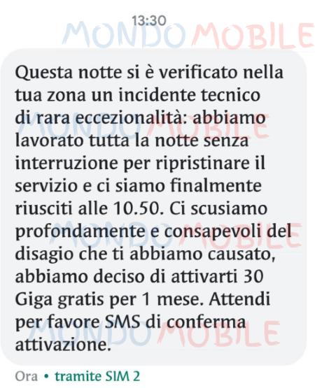30 Giga disservizio Vodafone