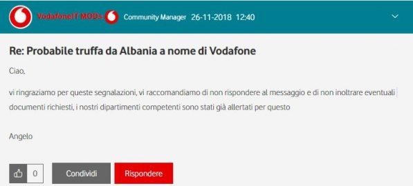 Vodafone Lab: A topic appeared on an alleged WhatsApp
