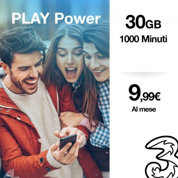 Photo of 3 Italia Play Power: 30 Giga e 1000 minuti per tutti senza vincoli