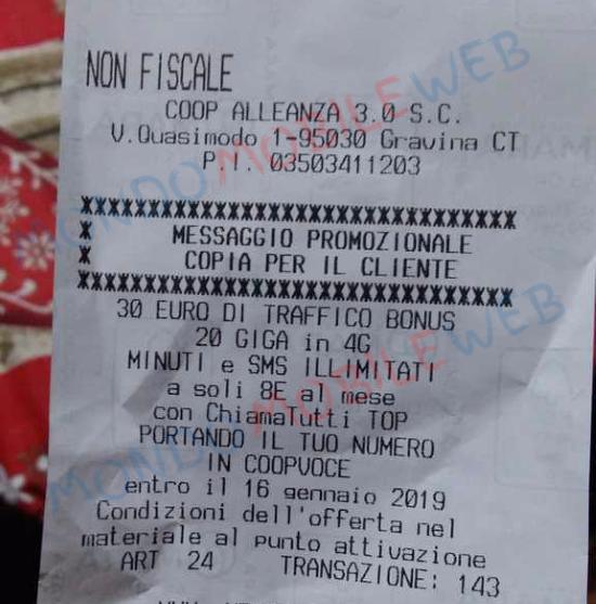 Scontrino Bonus 30 euro CoopVoce