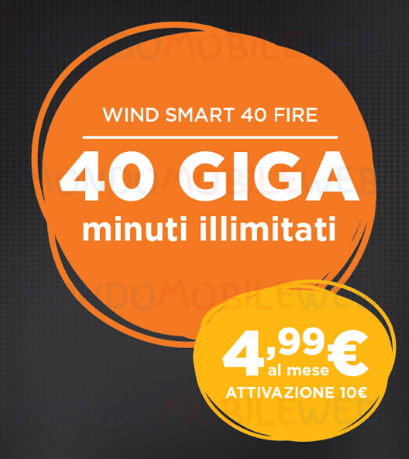 Photo of Wind Smart 40 Fire: minuti illimitati e 40 Giga a 4,99 euro. Nei Negozi fino al 23 Gennaio 2019