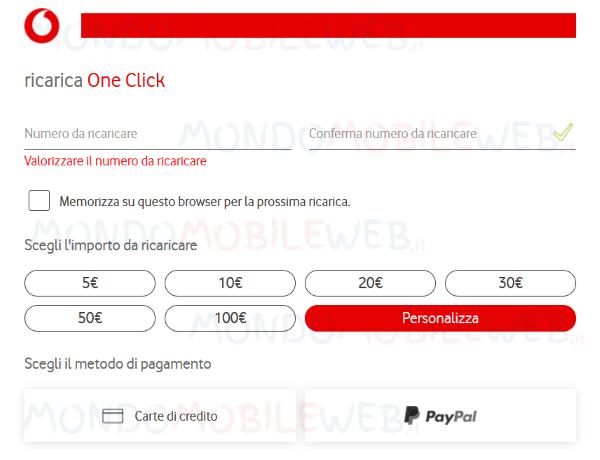Vodafone ricarica personalizzata