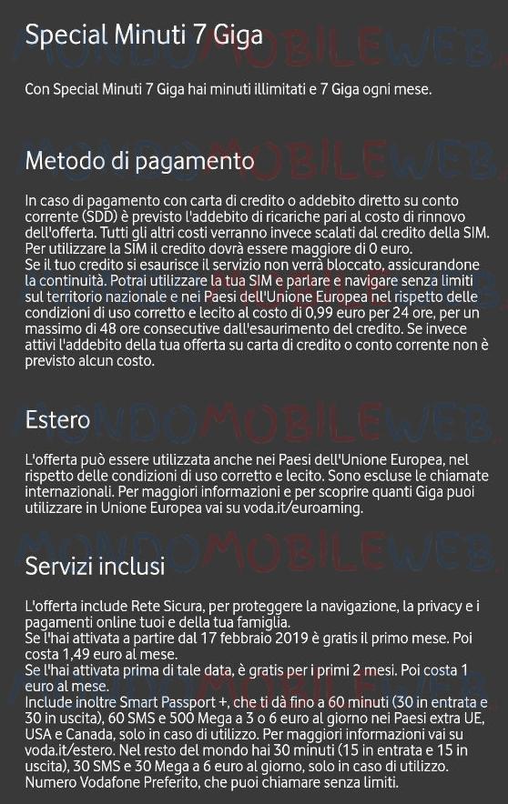 Vodafone Special Minuti 7 Giga