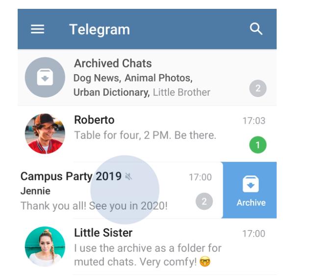 archiviare chat su telegram