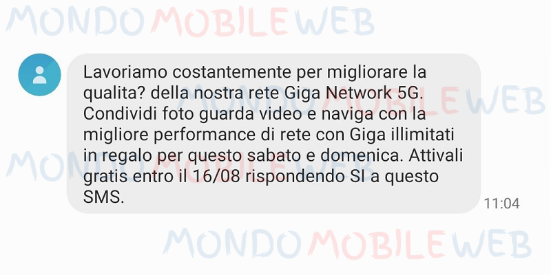 Sms Vodafone Giga Weeekend
